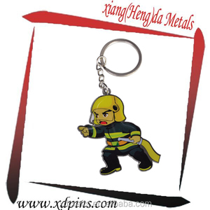 Promotion customized Firefighter keyring keychains