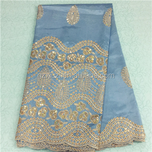 XZLACE New Design Blue-Gold 5 Yars/Lot African Georges, Indian Embroidery Powderblue-Gold Raw Silk George Wrappers Wholesale