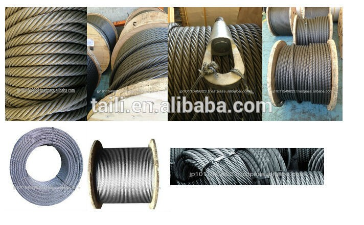 9mm coil packing steel wire rope 6x24+7FC