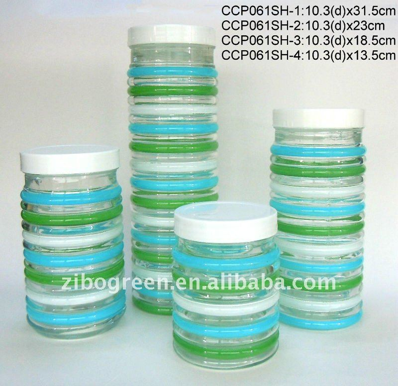 round glass jar with hand-painted design with plastic lid(CCP061SH)