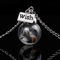 Glass Bottle Necklace Natural Dandelion seed in glass long necklace Make A Wish Necklace