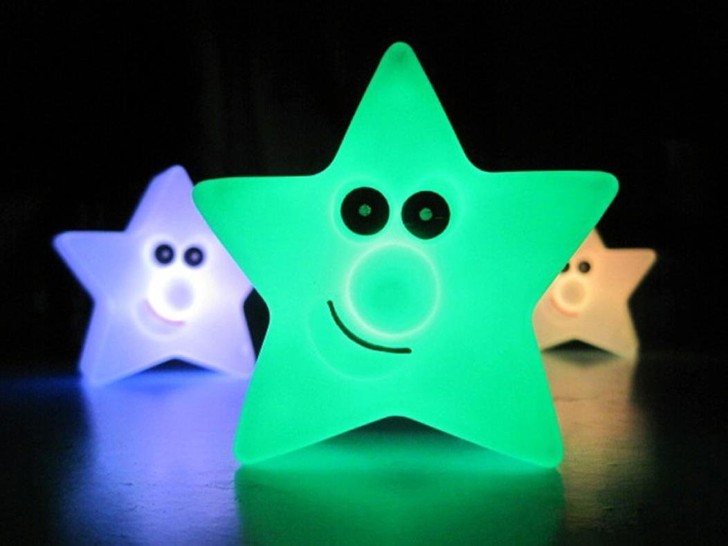 Tuscom 1PC New Changing Color LED Light Multi-Color Magic Novelty Star Smile Night Lamp
