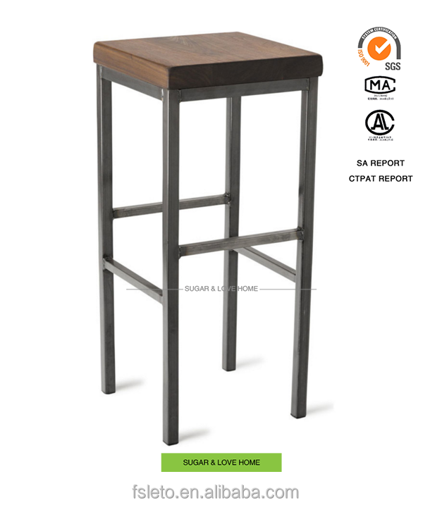 industrial furniture reclaimed wood bar stool with metal base