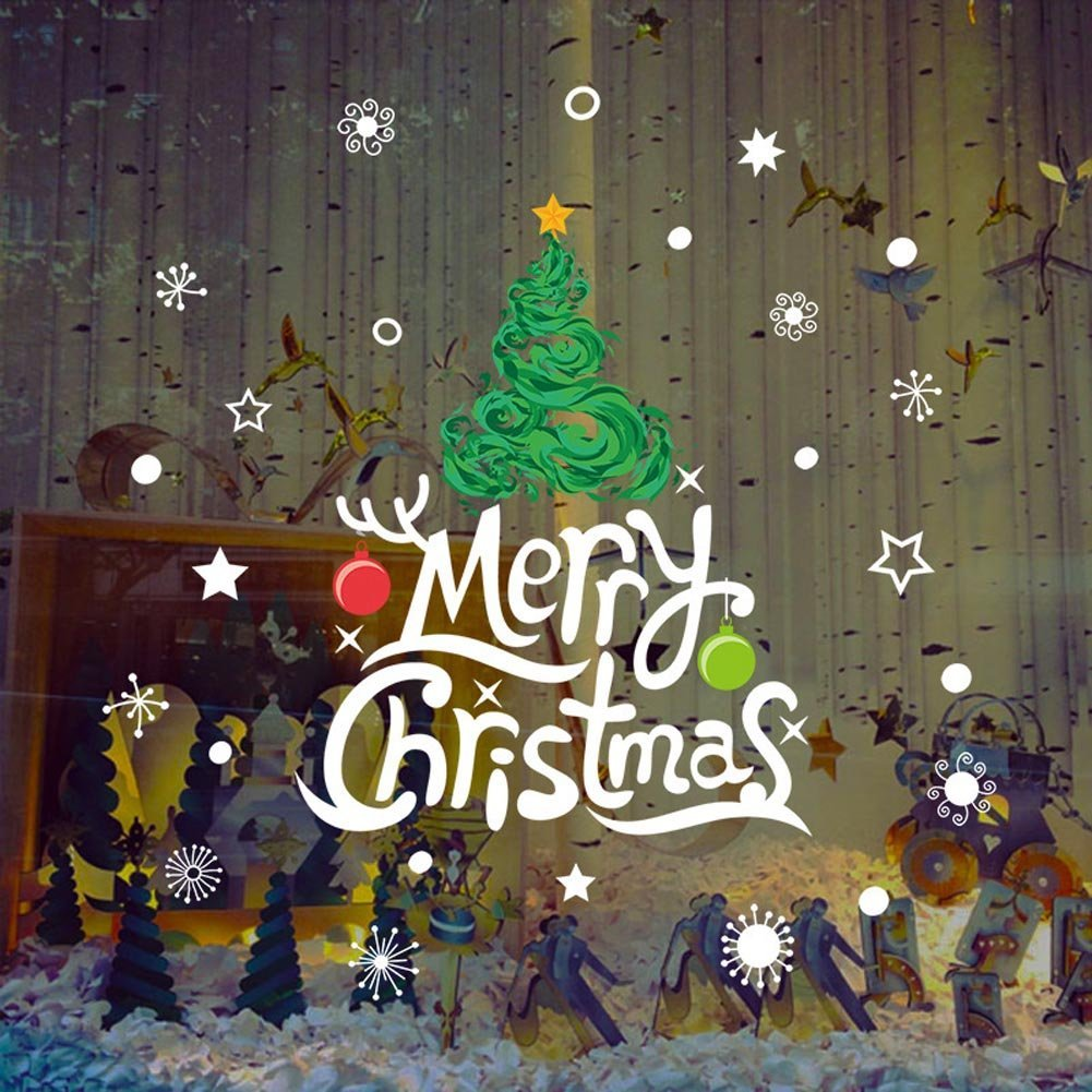 Get Quotations BIBITIME Shop Yellow Star On Green Xmas Tree Window Stickers Antler Hanging Balls Saying Merry Christmas