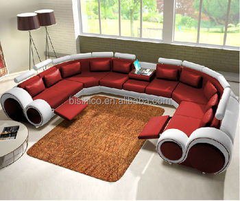 New Design Modern Creative U Shape Genuine Leather Sectional Sofa Italian Set For