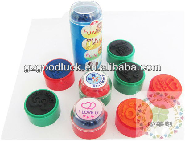 Guangzhou ring type toy plastic self inking stamp/Guangzhou non toxic environmentally friendly toy stamp