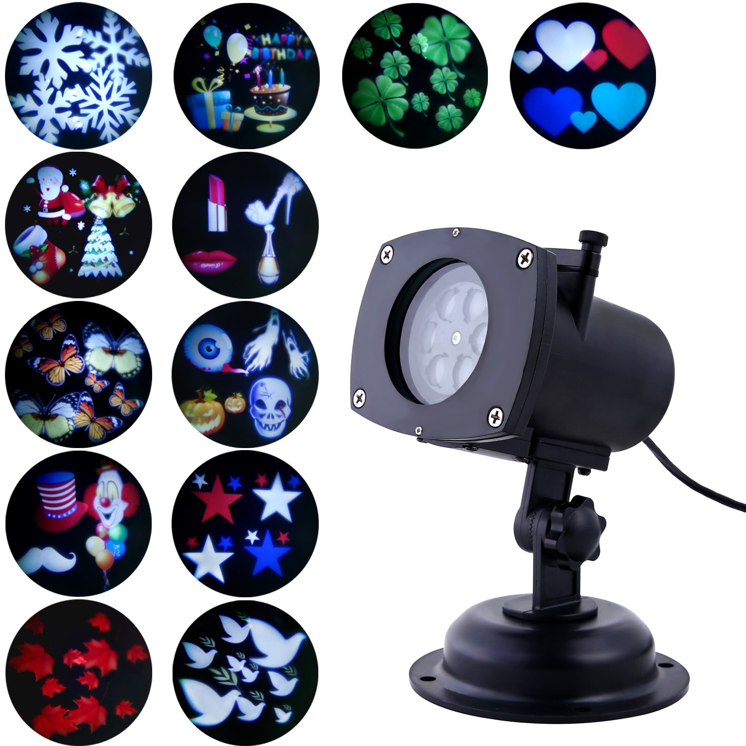 Projector Lights, Oxyled LED Party Projection Lamp, Waterproof Color Projector Light with 12 Slides for Outdoor/Indoor Party, Christmas/Halloween/Girls' Night, Holiday Decorations