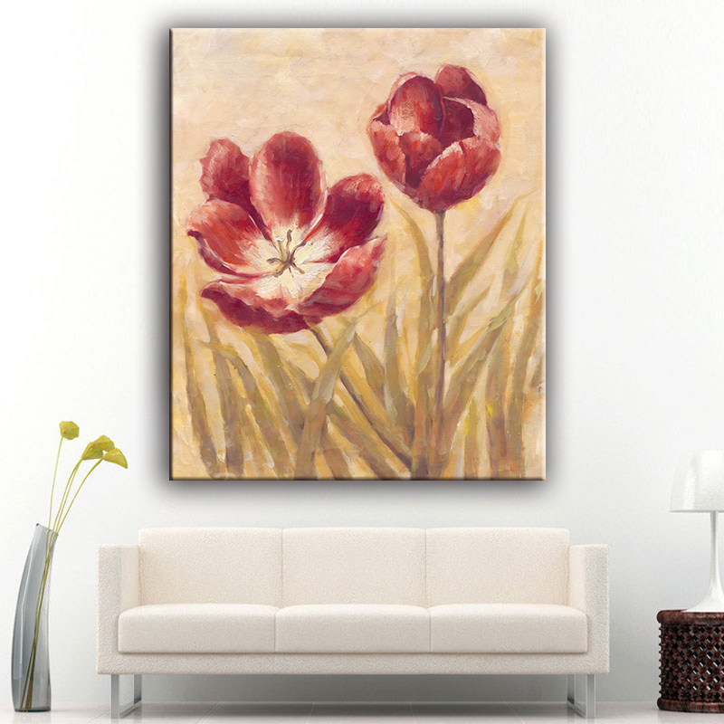 High performance modern style pure printed bright flower art oil canvas painting