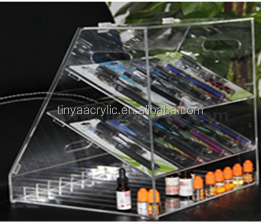 3tiers W300*D240*H300MM 10 slots per layer& 30mm width for each slot acrylic E cigarette liquid display rack with hinged doors