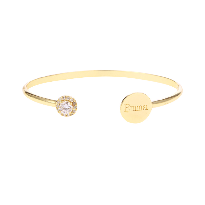 Zircon Custom Name Gold Color Love Cuff Bangles Personalized Engraved Disc Bracelet Jewelry for Women