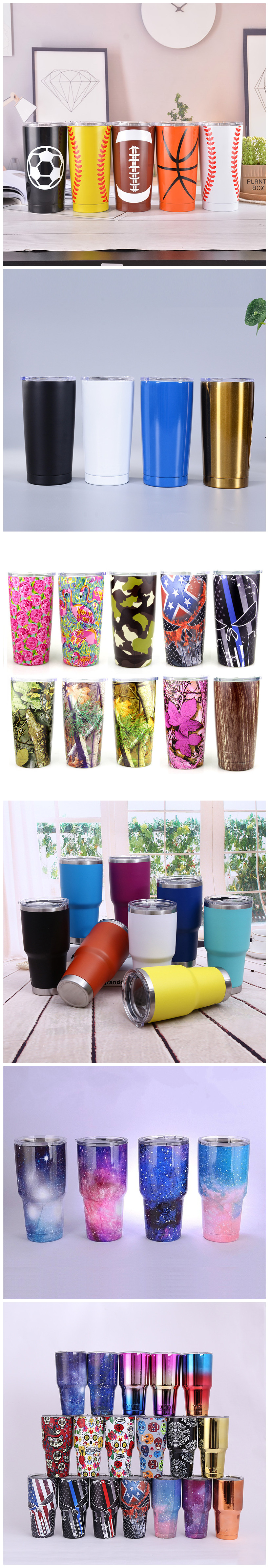Custom 20oz Eco Friendly powder coating  stainless steel tumbler insulated travel thermal Coffee Mugs with lid