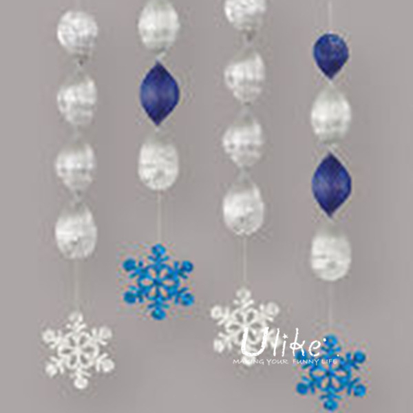 NEW SNOWFLAKES CHRISTMAS PARTY FOIL HANGING SWIRL DECORATION