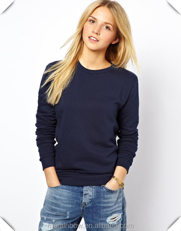 Custom Womens Blank 100% Cotton Crew Neck Sweatshirt Navy Blue ...