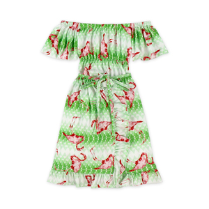 christmas new style flamingo pattern dress set for girls baby dress set off-shoulder jumpsuit wholesale