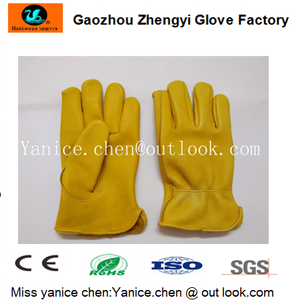 yellow deer grain leather driver glove with CE certification