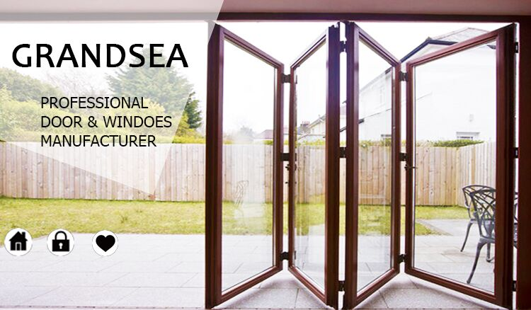Aluminium internal folding patio doors with internal shutter