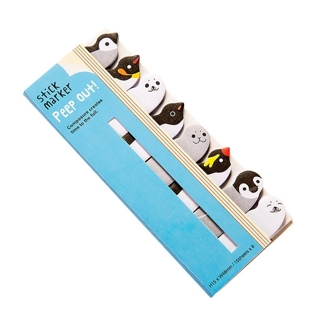 Cartoon Animal Page Marker, Lotus.flower 3 Pcs Lovely Cute Sticky Notes Assorted Memo Pads Page-marker Book Label Bookmarks For All Occasions (Penguin and Seal, Multicolor)
