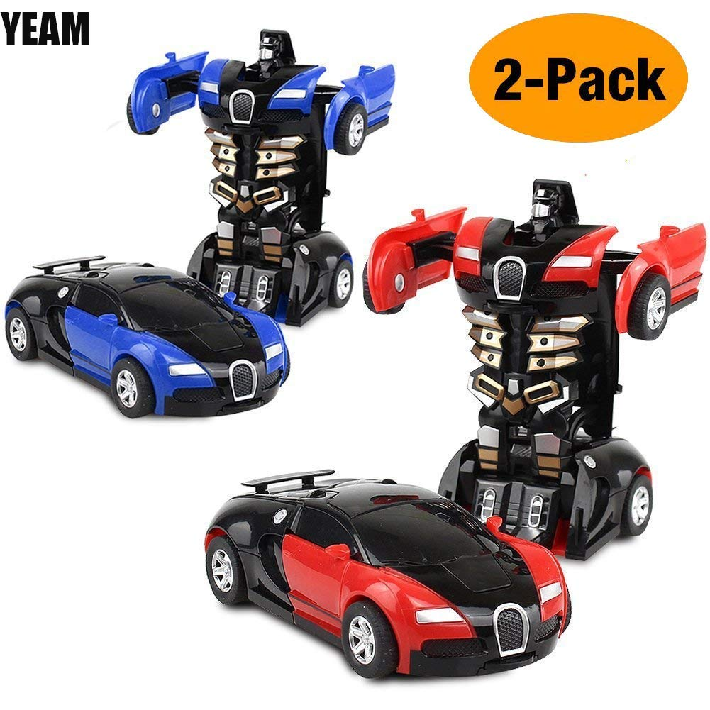 YEAM Toys Car 2 Packs, Kids Toys Robot Deformation Car Model Toy for Children,Tranform One Step(Blue and Red)