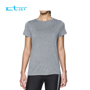 Wholesale Heather Grey Jogging Top Short Sleeve T Shirt for Women