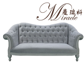 French Style Solid Wood Frame And Rolled Arms Tufted Living Room Sofa