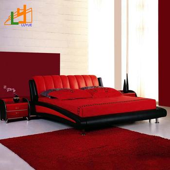 Super King Size Custom Color Living Room Furniture Red Black Modern Leather  Bed - Buy Modern Leather Bed,Soft Leather Bed,Living Room Furniture ...