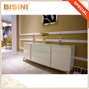 Italian Style Living Room Furniture/ Refined White TV Cabinet/ Home Decorative Cabinet Embellished Through Exquisite Gold Trim