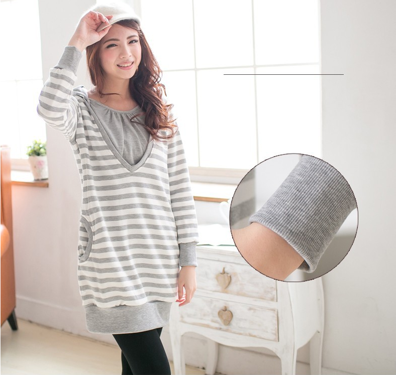 Comfortable Maternity Sweater Nursing Top Striped Pattern Breastfeeding Clothes casual feeding Autumn Women Wear Fashion style