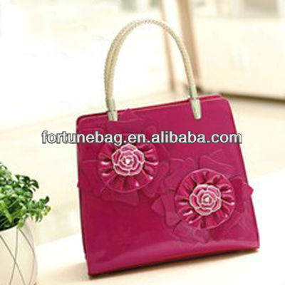 Unique designer pu handbags with flower