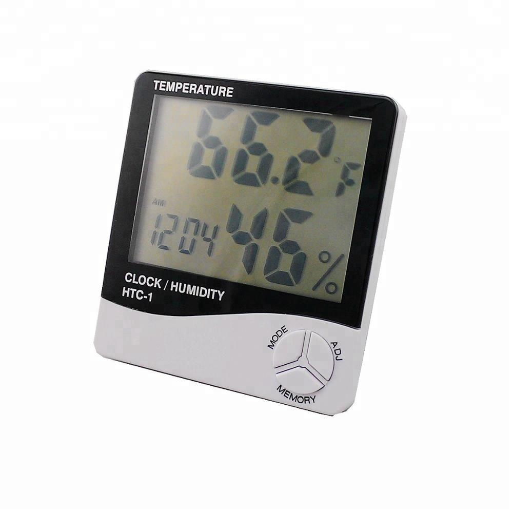 Classical Design Digital LCD Alarm Clock Thermometer Hygrometer with Max Min Record Function in ABS Material