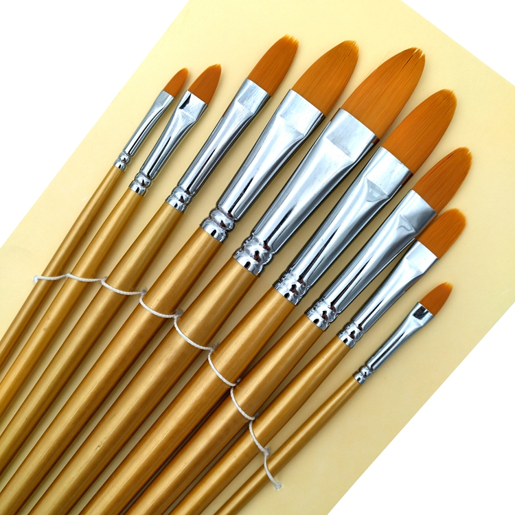 9 pcs Long Handle Multi-Tip Artist Brush Set with Synthetic Hair and Chrome Plated Brass Ferrule