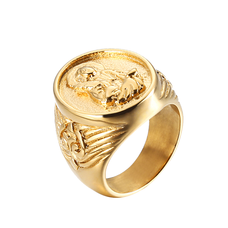 Golden Religious Carving Mary Stainless Steel Men's <strong>Ring</strong>