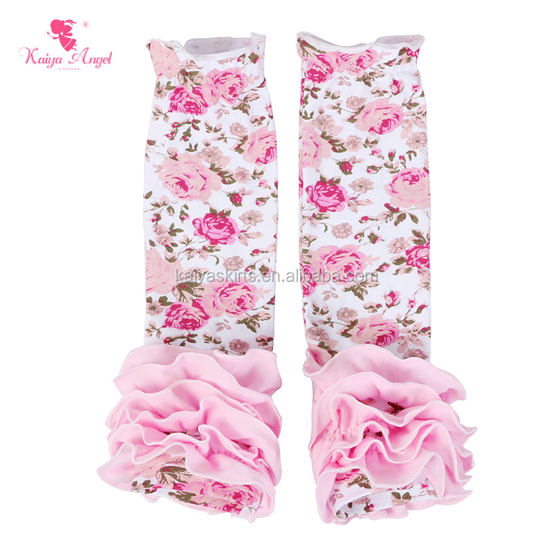 Bulk Sale Kids Floral Leg Warmers Boutique Cotton Knitted Girls Leg Warmers