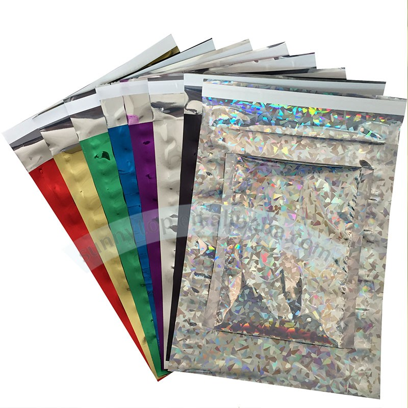 decorative poly mailers 10x13 silver holographic poly mailers wholesale resealable mailing bags