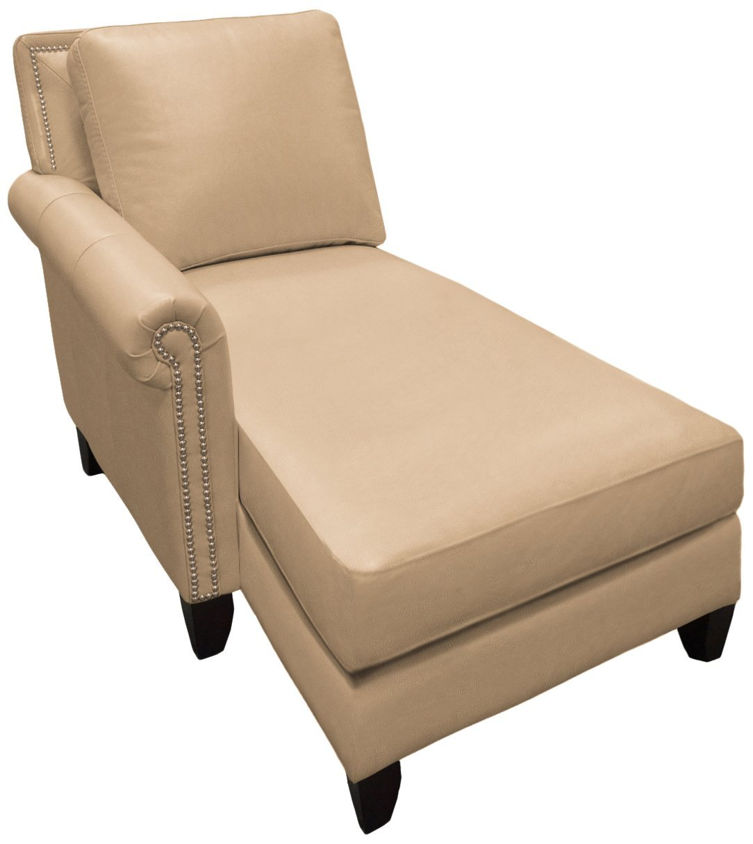 Omnia Leather Benjamin Left Arm Chaise in Leather, with Nail Head, Eugene Beige