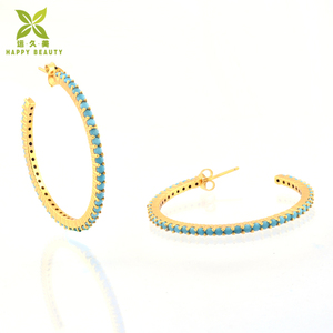 Women's fashion big gold plated nature turquoise hoop earrings wholesale