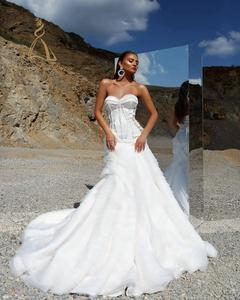 Plain Strapless Tiered Sweep Train Zipper Custom Made White Satin Mermaid Wedding Dress