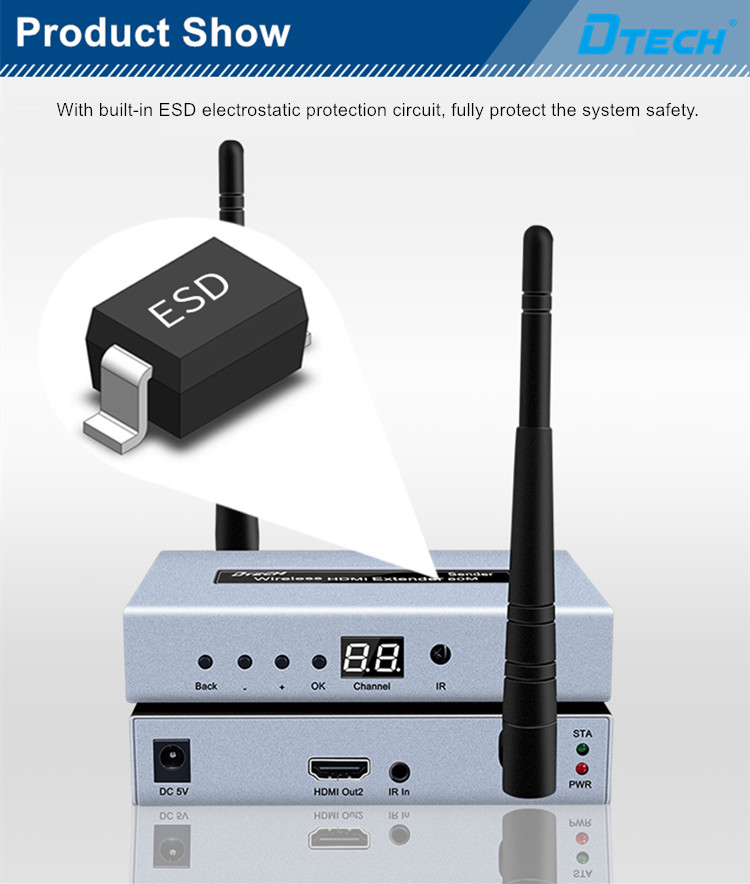 Hot selling Long range outdoor indoor audio video transmitter and receiver wireless HDMI extender