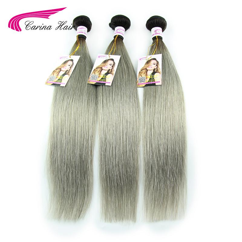 New 3pcs 8A Double Weft Silver Grey Hair Extensions Brazilian Virgin Hair Straight Ombre Grey Human Hair Weave Free Shipping