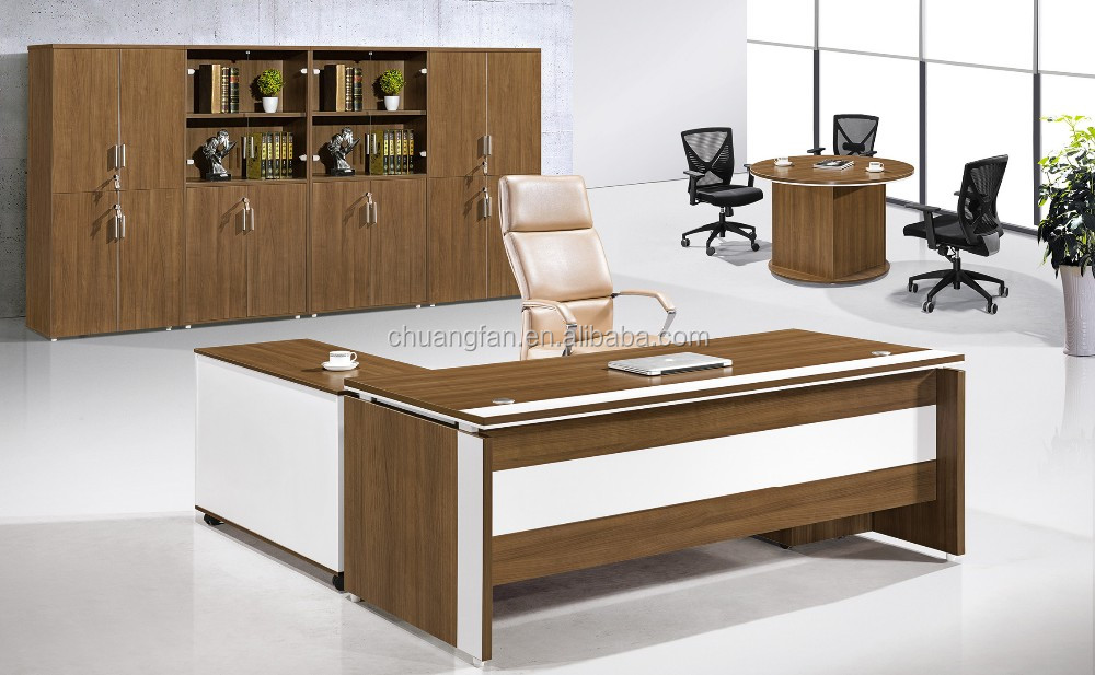 Office Particle Executive Office Desk Furniture With Side Cabinet ...
