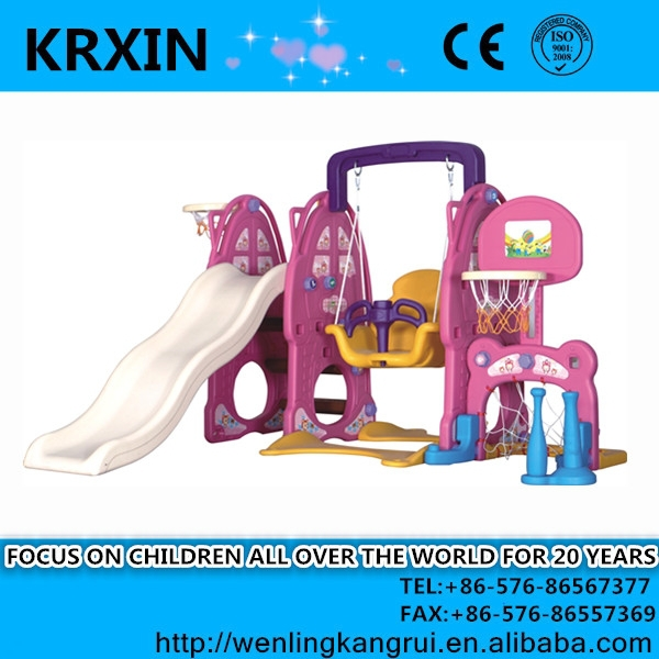KR Children Amusement Park Plastic Swing And Slide Set