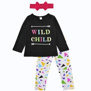 Wholesale Long Sleeve Girls 3 Piece Suits Cotton