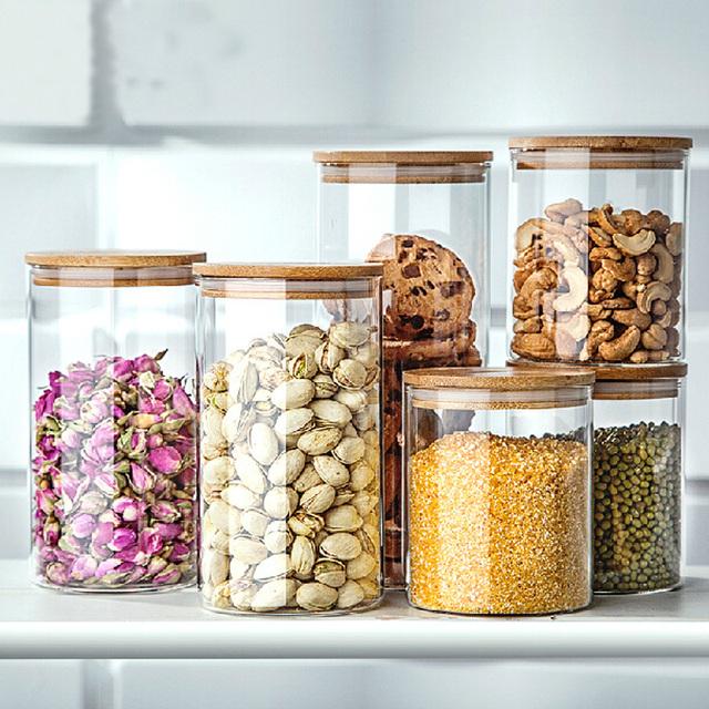 transparent grain de caf bocal en verre grand fruits secs alimentaire bo te de rangement bo te. Black Bedroom Furniture Sets. Home Design Ideas