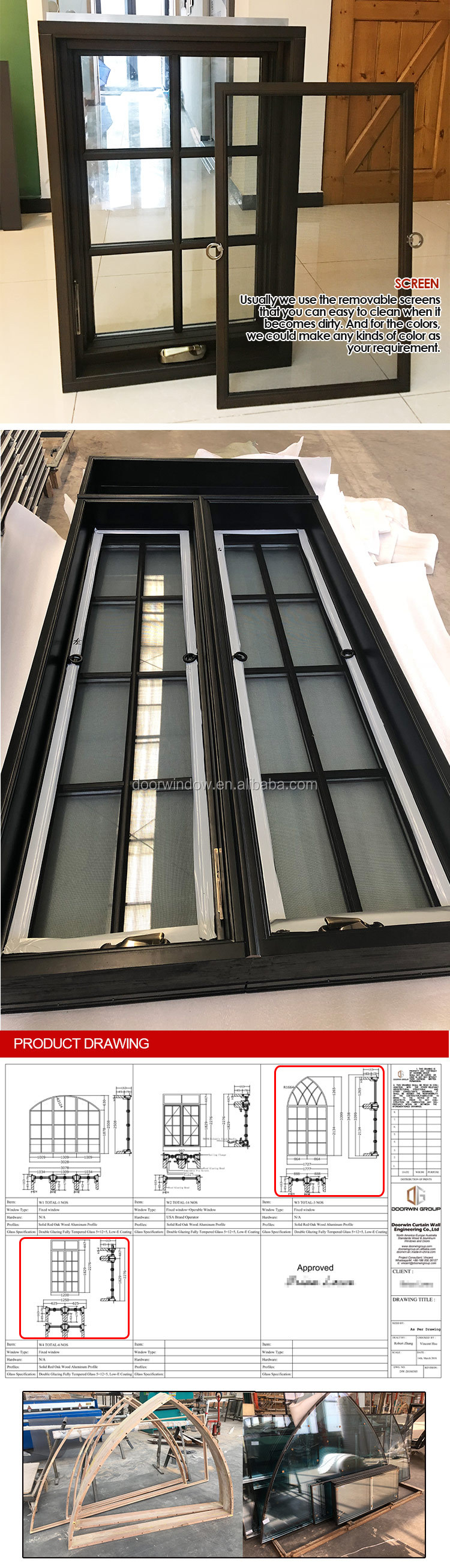New York American NAMI Certified Aluminum transom awning window sash profile crank open window