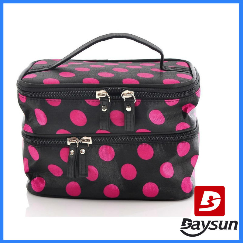 Unique Dots Makeup Bag Pattern Double Layer Cosmetic Bag