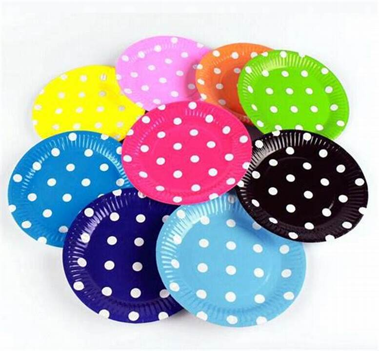 Food Safe Coloful Dotted Paper Plates Round Party Dishes