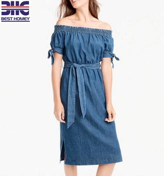 366c30eed60 ladies tencel denim chambray off shoulder midi tunic dress for women casual  beach short sleeve dress