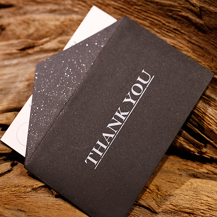 Custom Printed Paper Thank You Cards with Black Envelope Set