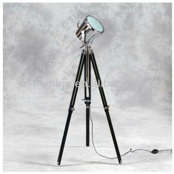 Large Industrial Spotlight Tripod Wooden Floor Lamp With Handle ...