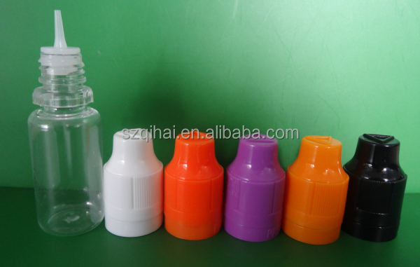 China hot plastic e cigarette/electric liquid bottle with childproof and tamper evident cap