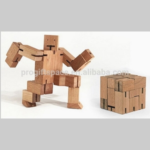 2018 promotional unique hot sale China puzzle gift craft wholesale custom children wood ornament make handmade wooden robot toy